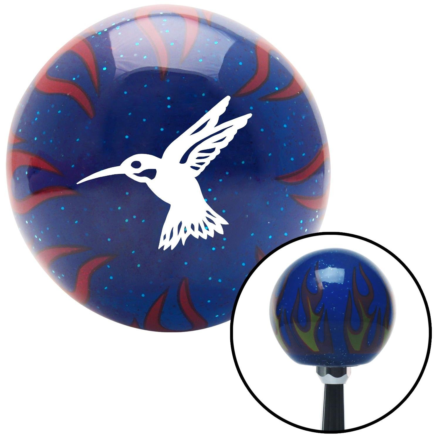 White Hummingbird American Shifter 244217 Blue Flame Metal Flake Shift Knob with M16 x 1.5 Insert