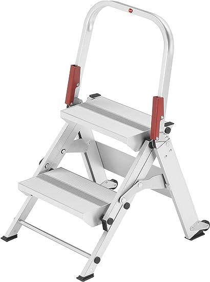 Hailo 8882-001 ProfiLine ST 150 XXL Aluminio con Barra de Seguridad Plegable, Plata, 2 Stufen: Amazon.es: Bricolaje y herramientas