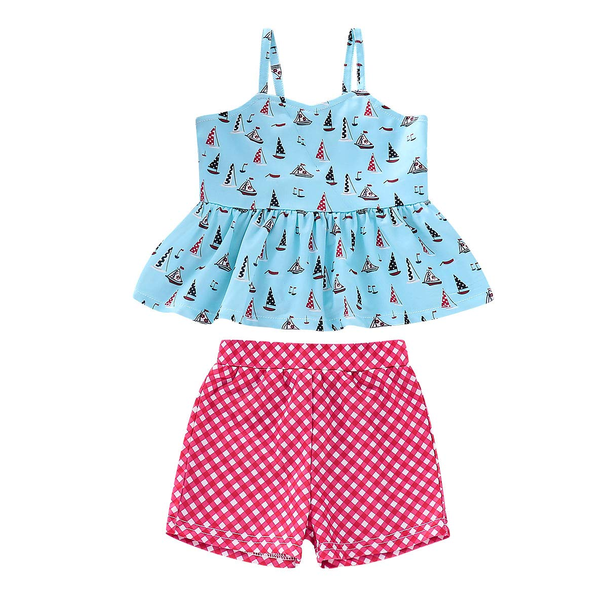 ZOMUSAR Toddler Baby Kids Girls Outfits Ruffle Fashion Tops+Checked Legging Two Piece Set