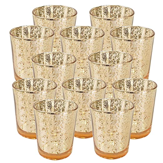 Christmas Tablescape Decor - Glittery speckled gold mercury glass votive/tealight candle holder - Set of 12