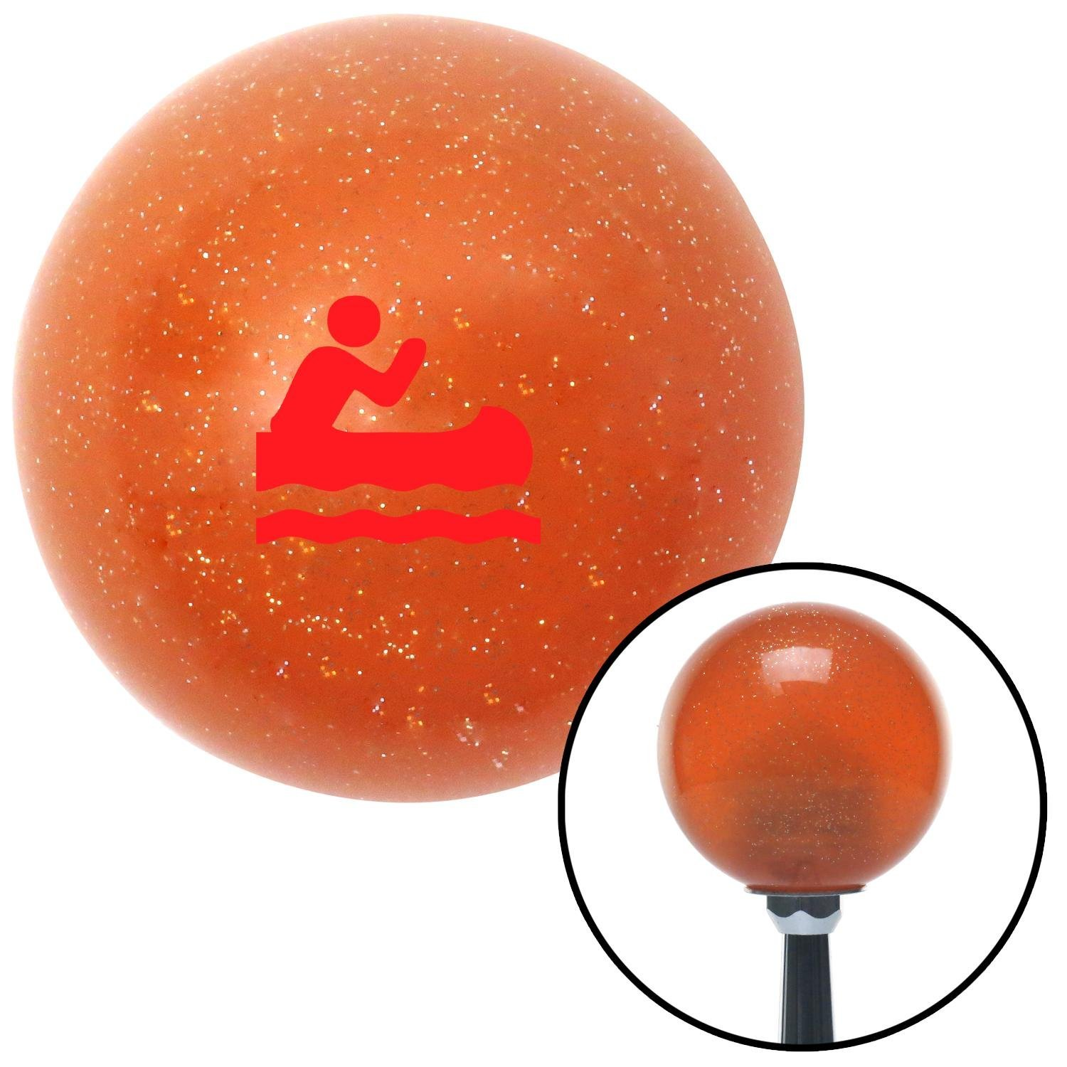 Red Marine in Canoe American Shifter 44012 Orange Metal Flake Shift Knob with 16mm x 1.5 Insert