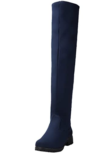 BIGTREE Lange Stiefel Damen Bequem Casual Reißverschluss Blockabsatz Herbst Winter Knie Hohe Stiefel von Blau 33 EU mpItp