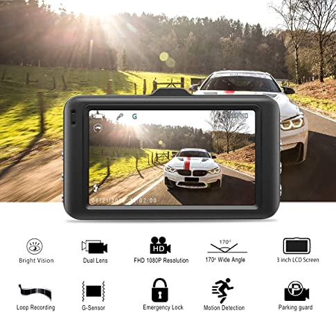 Dash Cam FHD 1080P Car Camera DVR Dashboard for Cars 3 LCD Screen with 170 Wide Angle,G-Sensor, WDR, Parking Monitor, Loop Recording Motion Detection Driving Recorder-Black