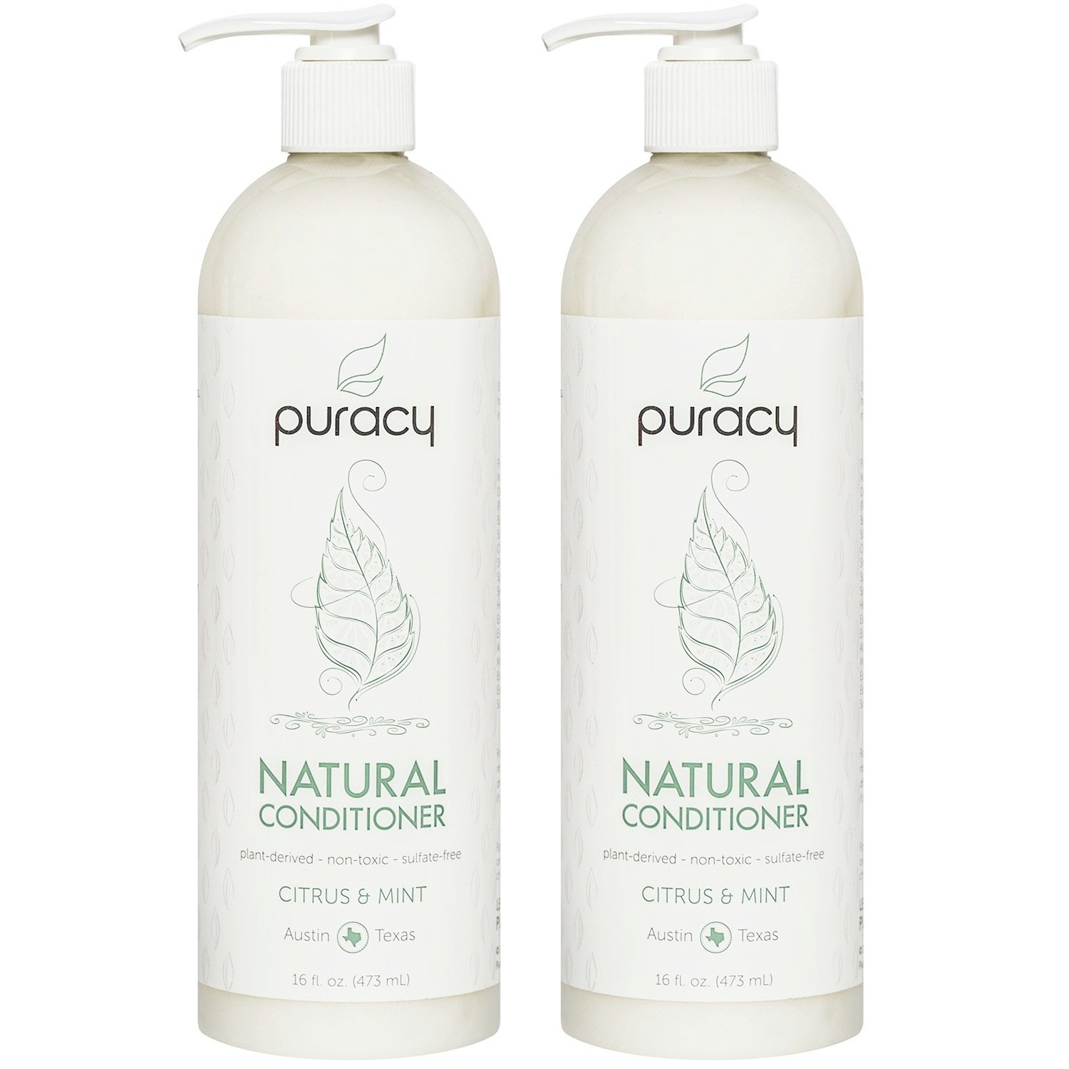 Puracy Natural Conditioner Set [2-Pack], Hypoallergenic, Non-Toxic, Salon-Tested for All Hair Types, 16 Ounce Pump Bottle [Set of 2]