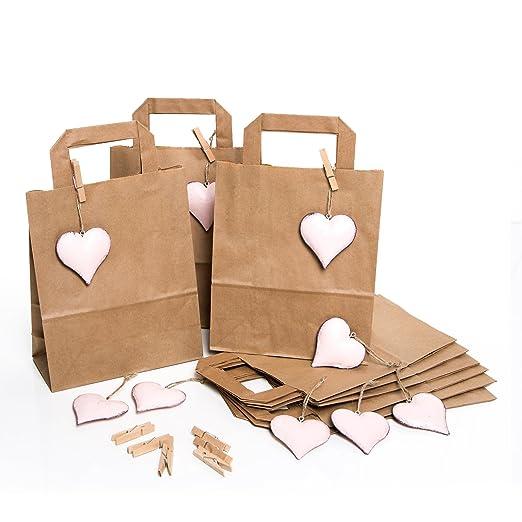 9 Kleine marrón bolsas de regalo bolsas de papel kraft papel ...