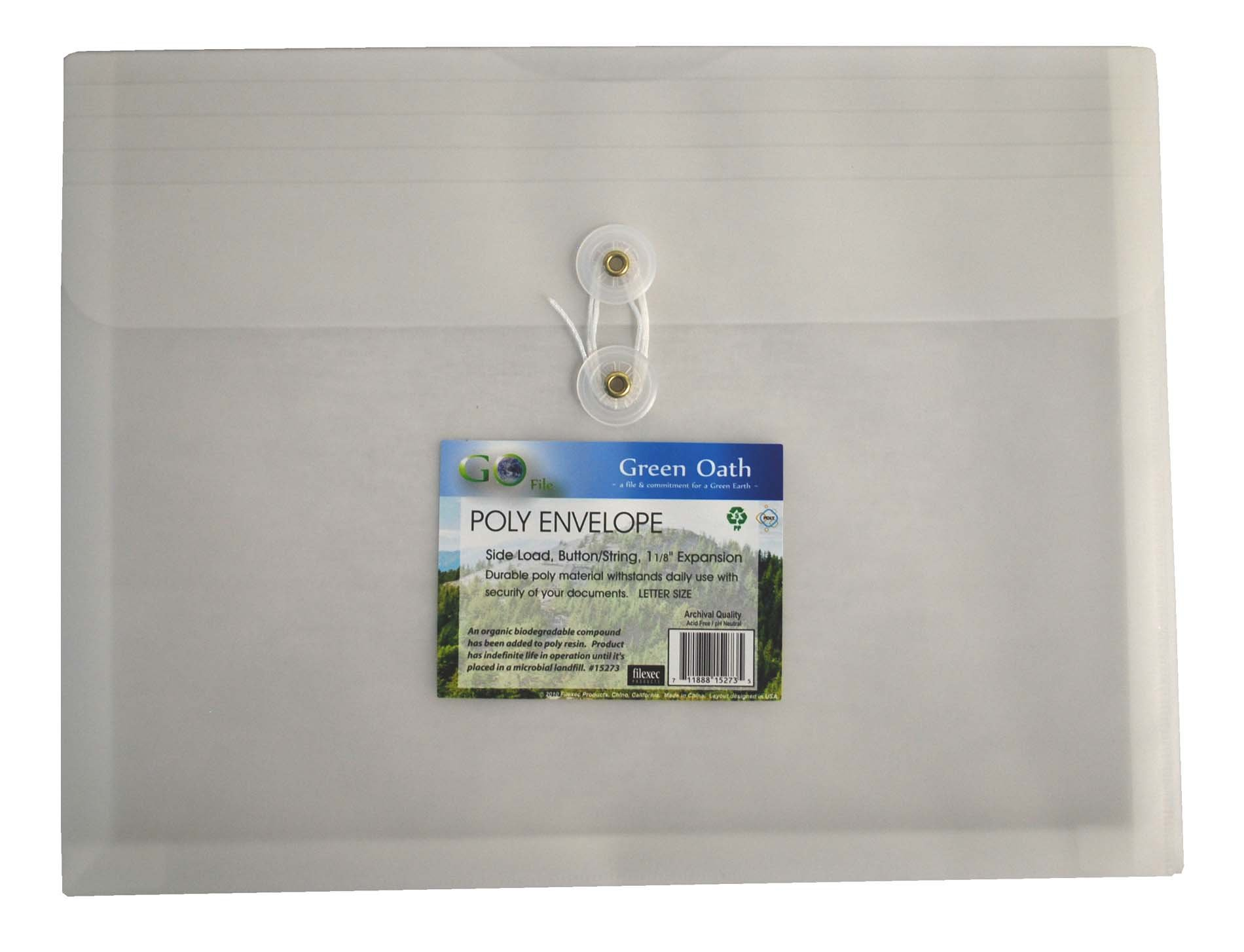 Green Oath Poly Envelope, Side-Load, Letter Size, Button String Closure, Pack of 12, Snow (50246-15273)