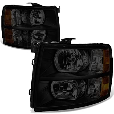 DNA Motoring HL-OH-CSIL07-BK-SM-AM Smoked/Amber Headlight/Lamp (For 07-14 Chevy Silverado, Pair): Automotive