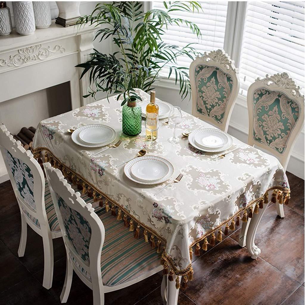 HFY テーブルクロス、美しく優雅な長方形ポリエステルテーブルクロス、グリーンベージュ (色 : ベージュ, サイズ さいず : 130*190cm) 130*190cm ベージュ B07SBFQ7GL