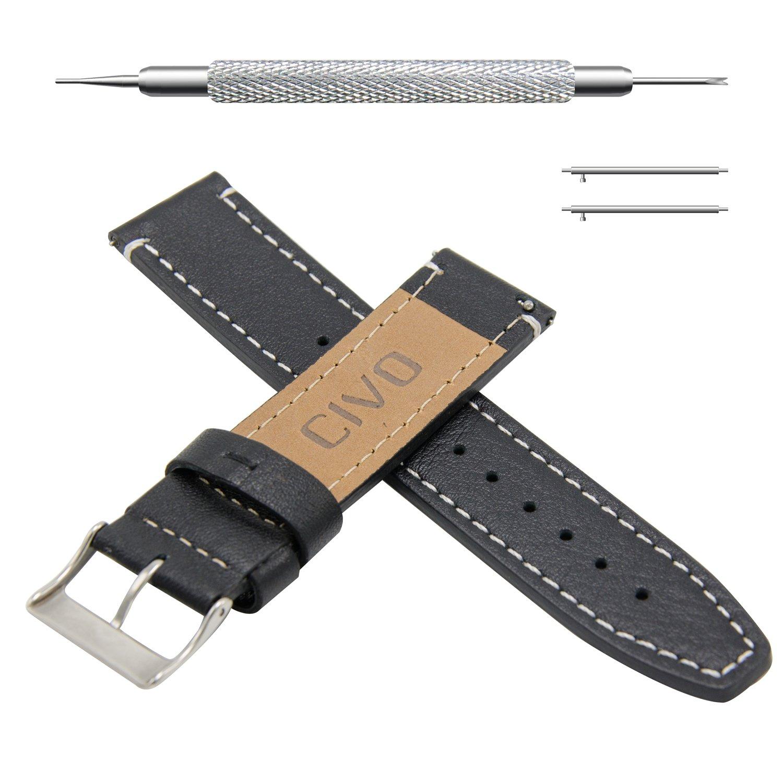 CIVO スマートウォッチバンド 腕時計ストラップ クイックリリース 高級本革グレインレザー  18ミリ 20ミリ 22ミリ 20mm Black Leather / White Stitching Black Leather / White Stitching 20mm B06Y5ZJT39