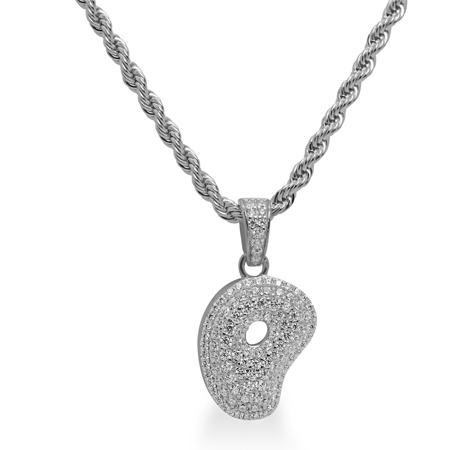 925 Sterling Silver White Gold-Tone Iced Out Hip Hop Bling Bubble Alphabet Letter  P Pendant with 24 Rope Chain