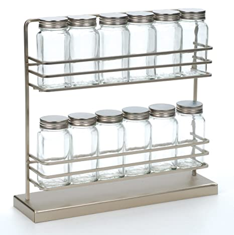 Amazon.com: Rsvp Acero inoxidable Spice Rack con 12 Botellas ...