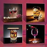 """Image sur toile 4x30 x 30 cm XXL """"vin et whisky"""" Tableaux pour la mur, encadrés, prêts à poser, tout les images sur chàssis géant bois véritable."""