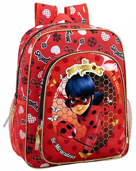 "Safta Mochila Escolar Junior Ladybug ""Sparkle"" Oficial 320x120x380mm"