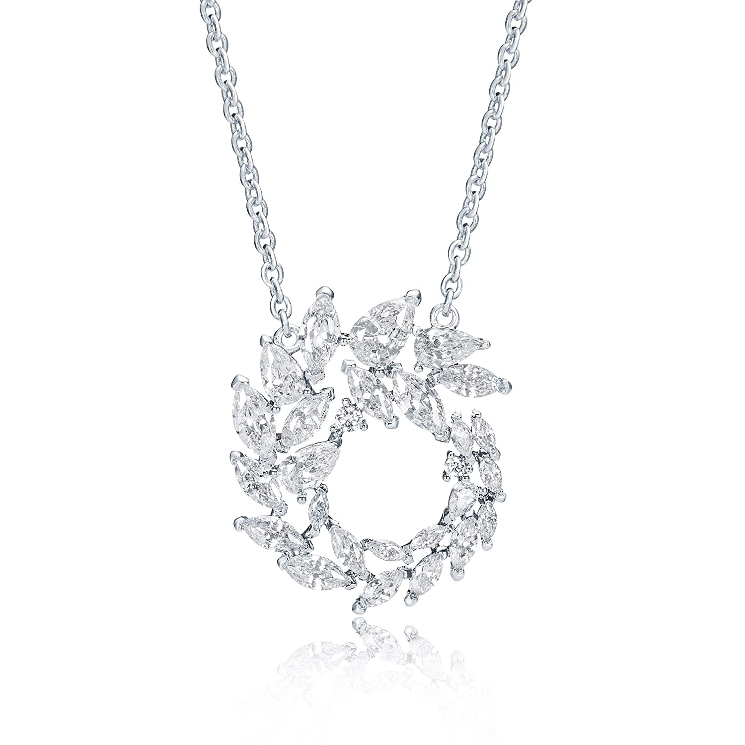My Jewellery Story MYJS Louison Spiral Necklace with CZ Rhodium Plated