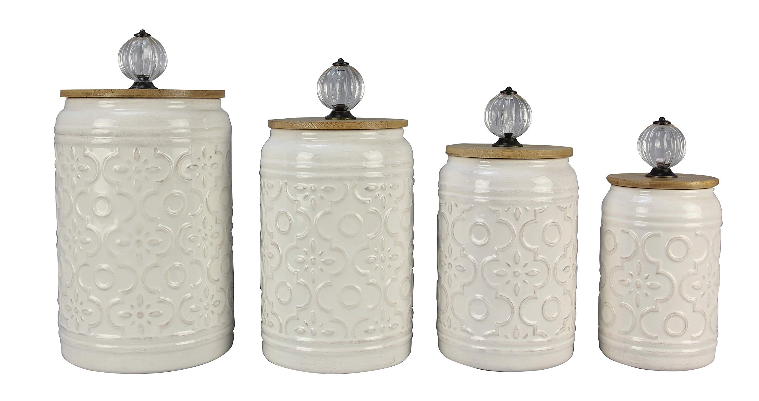 youngs Inc Ceramic 4 pc Canister Set, Multi