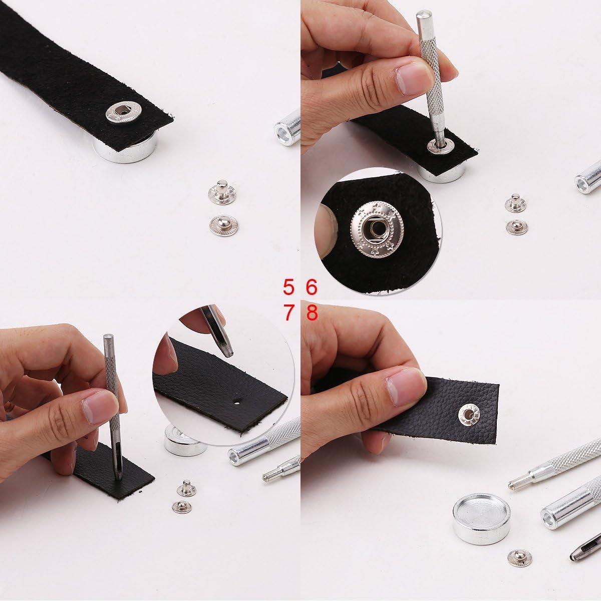 100 x bouton pression 15mm m/étal gris cuir maroquinerie DIY