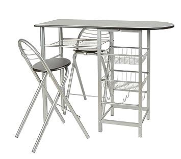 ts-ideen Essgruppe 3-teilig, Frühstückstisch MDF, Tisch 86x110cm ...