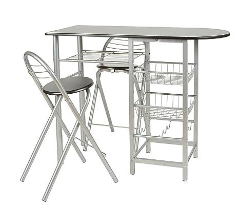 Sgabelli E Tavoli Alluminio.Ts Ideen Set 3 Pezzi Tavolo Con 2 Sgabelli In Alluminio E Mdf Color Nero Per Cucina O Sala Da Pranzo
