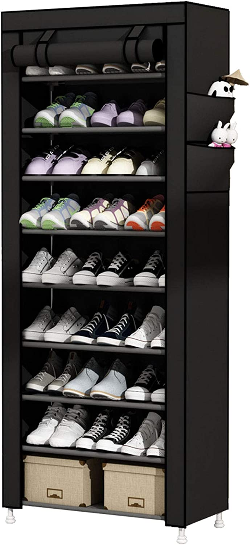 UDEAR 9 Tier Shoe Rack with Dustproof Cover Shoe Shelf Storage Organizer Black