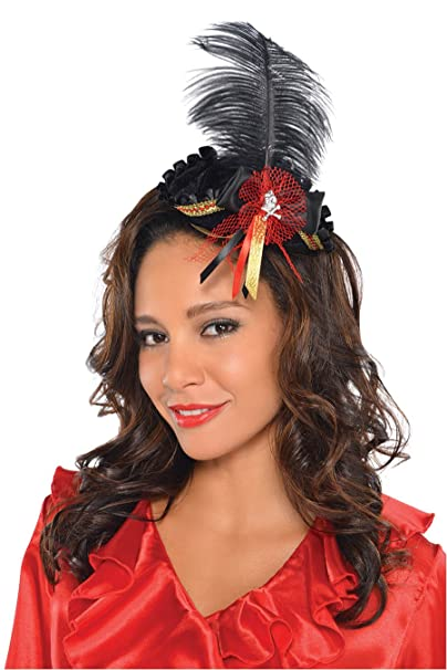 Black & Red Mini Tricorn Lady Pirate Hat Costume Accessory with Black and Gold Ribbon Piece Embellished with Red Net Detailing, Skull & Crossbones Button and Black Feather by Amscan
