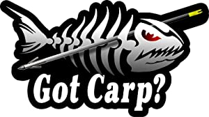 "ProSticker 1518 (One) 3.5"" X 7"" Fishing Art Series Got Carp Skeleton Arrow Decals Sticker"