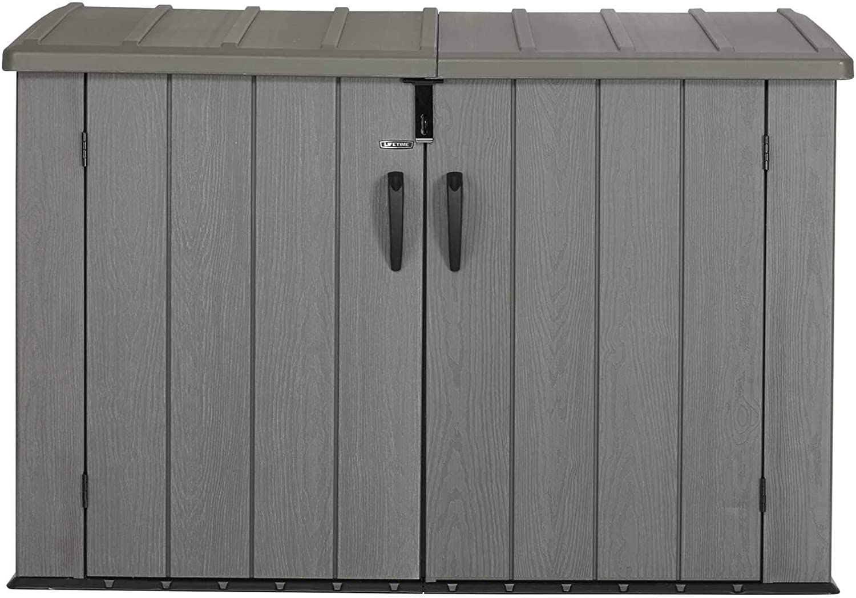 99 x 61 x 66 cm Lifetime 300L Heavy Duty Outdoor Storage Box Desert Sand