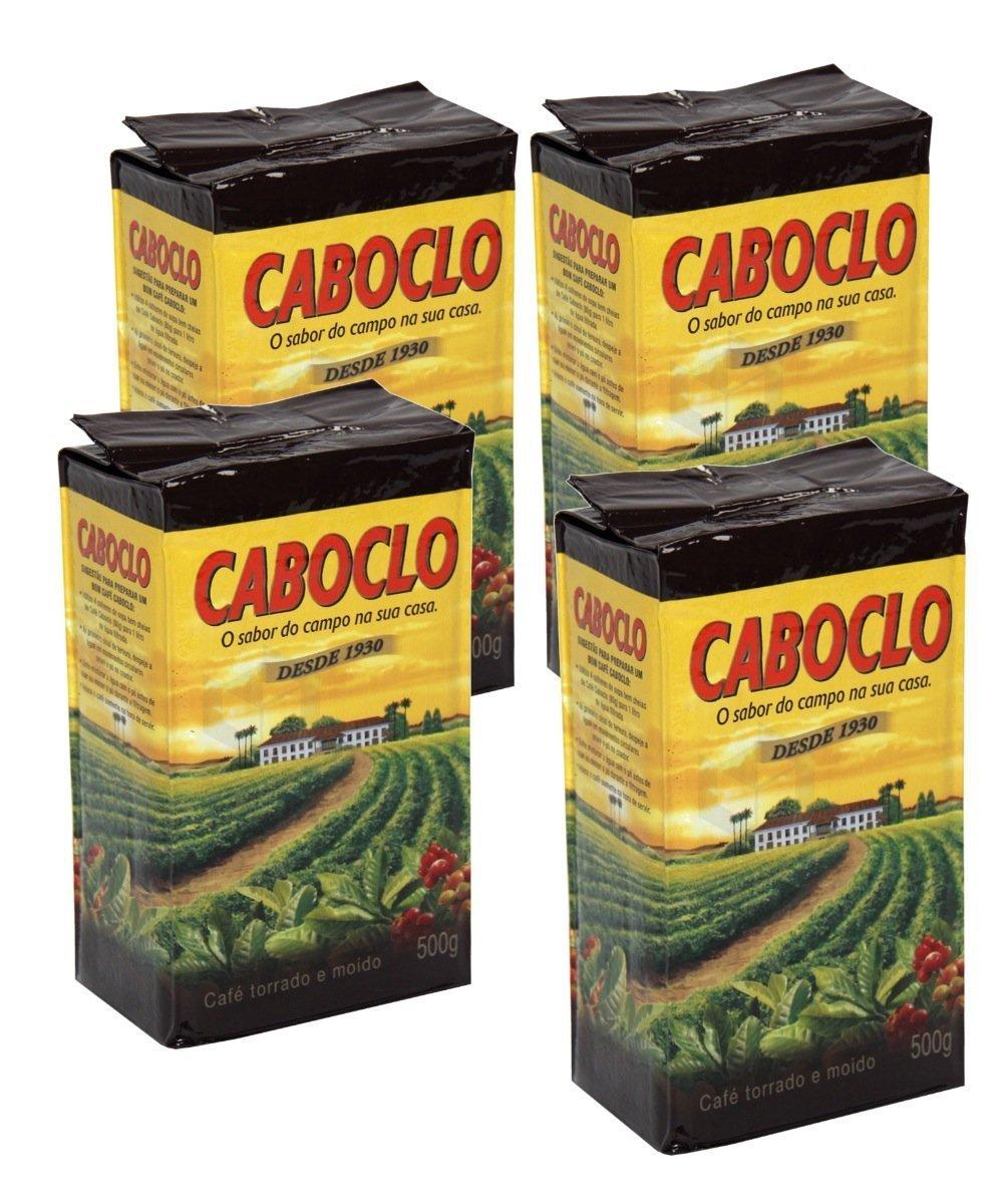 Cafe Caboclo 500g   Torrado e Moído   Roast and Ground Coffee 17.60oz (PACK OF 4)  GLUTEN FREE 