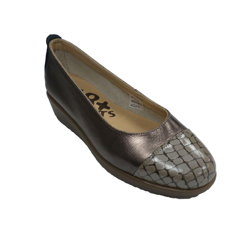 Made In Spain Keil Schuhe Frau Keil Schuhe Keil Spain Krokodil Zehe 48 Hours metallisch fefefb