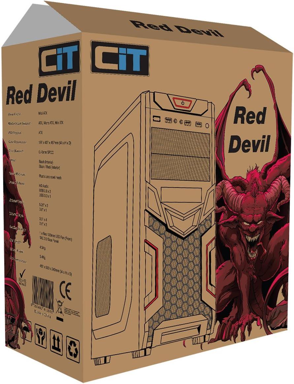 CiT Devil Mesh - Carcasa para Torre de Videojuegos (con Entrada USB), Color Negro y Rojo: Amazon.es: Informática