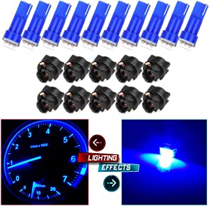 cciyu 20 x Blue LED & Sockets Instrument Dashboard Speedo Light Bulbs T5 57 37 73 257