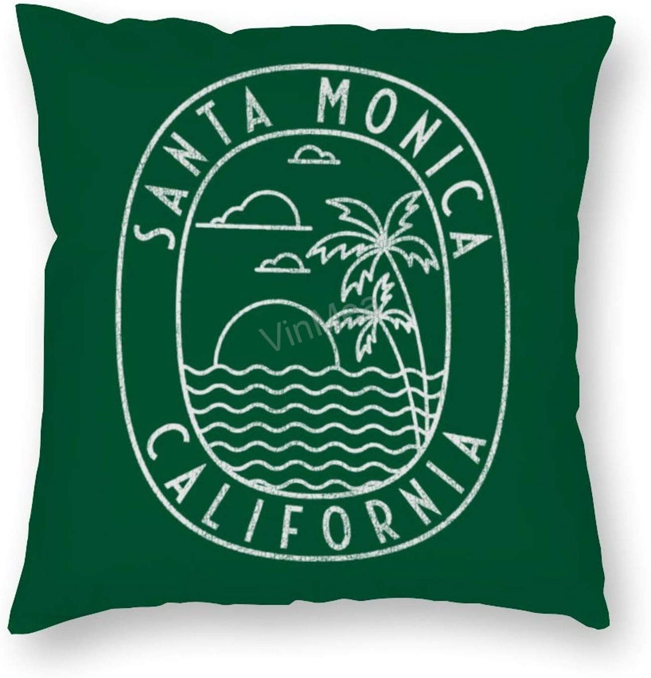 Decorative Pillow Covers Santa Monica, California Square Soft Luxury Velvet Cushion Covers, 22x22 Inches Pillowcase for Sofa Couch Bed Chair Car Home Decor