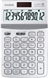 CASIO JW-200TW WE calcolatrice da tavolo -Display a 12 cifre, struttura in metallo di colore bianco