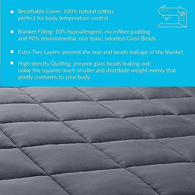 Coton 6.8 kg Weighted Blanket pour Insomnie Gris Bedsure Couverture Lest/ée pour Adultes Syndrome des Jambes sans Repos Couverture Pond/ér/ée 150 x 200 cm sans Housse Soulagement du Stress