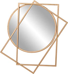 Gold Circle and Rectangle Layered Wall Accent Mirror