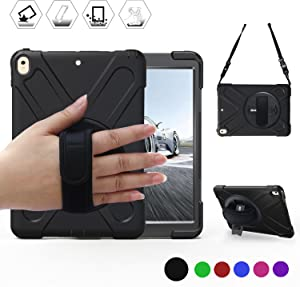 BRAECN iPad Air 10.5 (3rd Gen) 2019 Case/iPad Pro 10.5 Case with 360 Degree Swivel Stand/Hand Strap and Shoulder Strap Case[Heavy Duty] Three Layer Ultra Hybrid Shockproof Protective Case (Black)