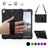 iPad Pro 10.5 Case,BRAECN 360 Degree Swivel Stand/Hand Strap and Shoulder Strap Case[Heavy Duty]Three Layer Ultra Hybrid Shockproof Full-Body Protective Case(No iPad 9.7 inch 2017) (Black)