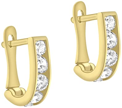 Carissima Gold 9 ct 3 Colour Gold Cubic Zirconia Half Hoop Earrings md6dNM4