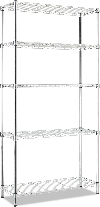Alera ALE Residential Wire Shelving, Five-Shelf, 36w x 14d x 72h, Silver