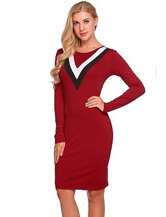 762b70411dd3c Burlady Women's O Neck Long Sleeve Official Wear to Work Colorblock ...