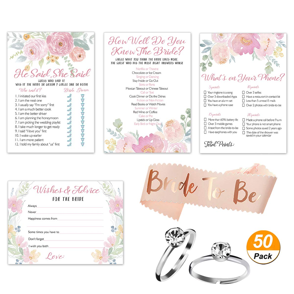 Floral Bridal Shower Games Pack | Set of 4 Party Games | 50 Sheets each | with Bonus Bride-To-Be Sash & 50 Pack Silver Artificial Diamond Engagement Rings for Wedding Shower Decorations