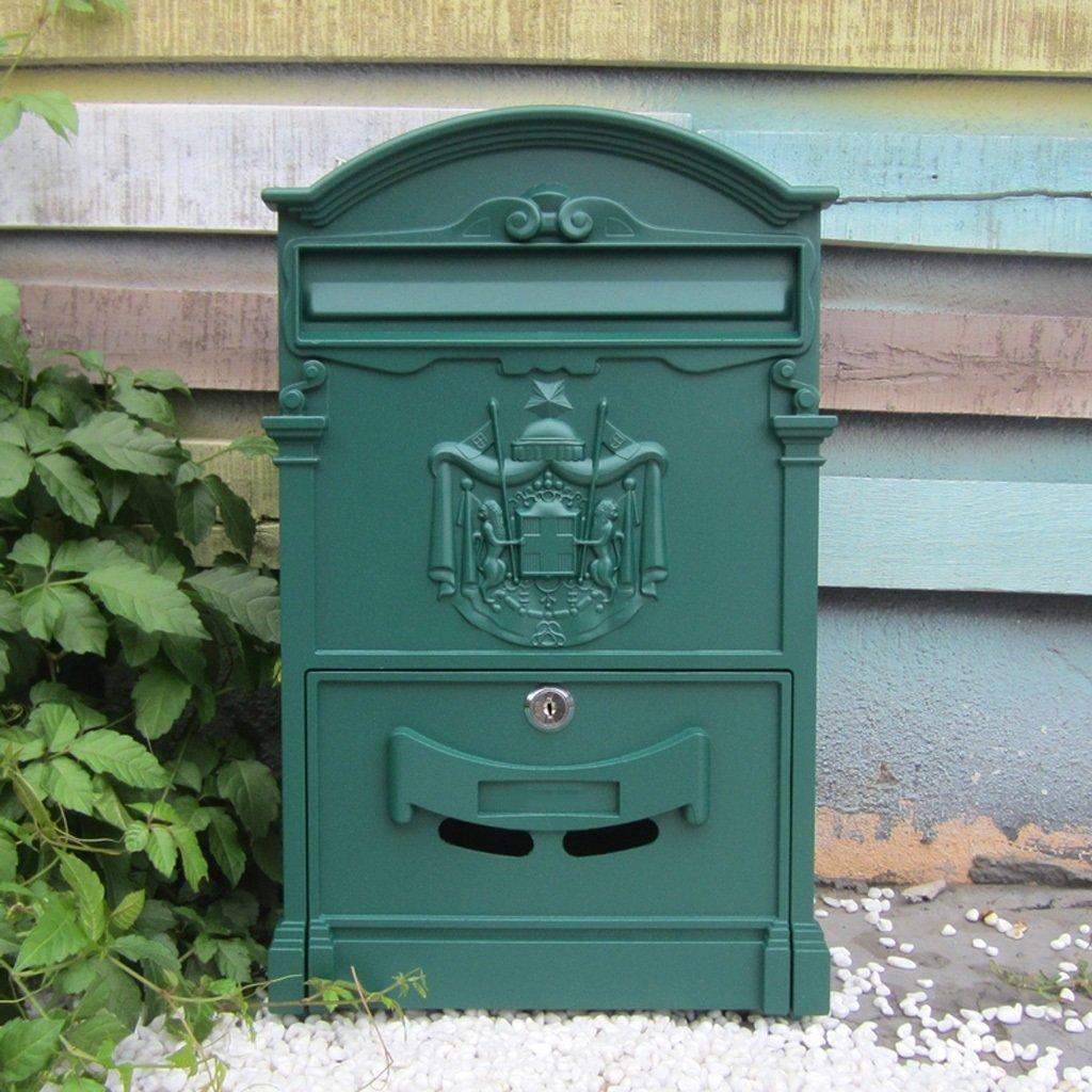 CKH ヨーロッパのヴィラ郵便受けレトロメールボックスウォールロッククリエイティブガーデン屋外ウォールマウント雨水メールボックス ( Color : Green )  Green B07CR1RYZ1