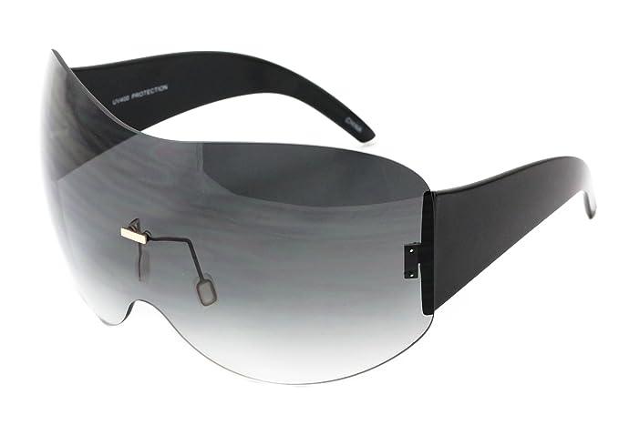2c6e0f38f3259 Oversize Sunglasses Rimless Shiel Visor Aviator Sunglasses Mirror Oceanic  Tented Lens (Black)
