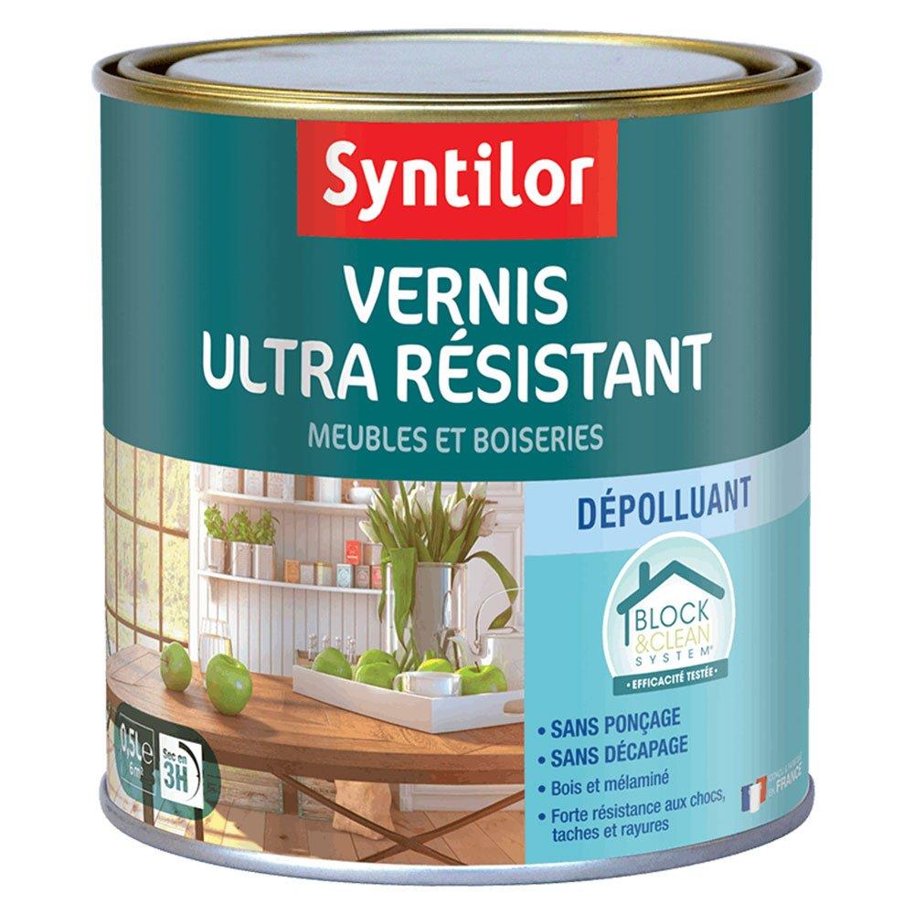 Syntilor - Vernis Ultra Résistant Meubles Et Boiseries Dépolluant Block & Clean System Incolore Laqué 0, 5L 01420172