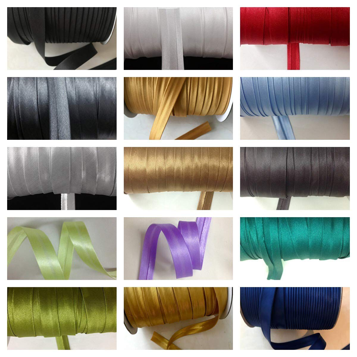 12 yards 5/8 inch Single Fold Satin Bias Tape 20 different colors In White sewing888