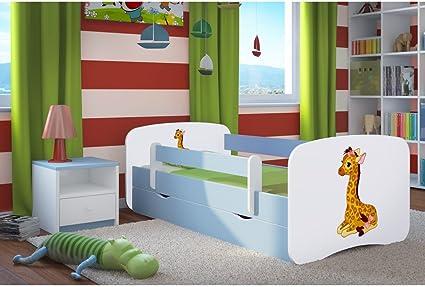Cama infantil jirafa de 80 x 160 cm con barra de seguridad, somier + cajonera + colchón. - Azul