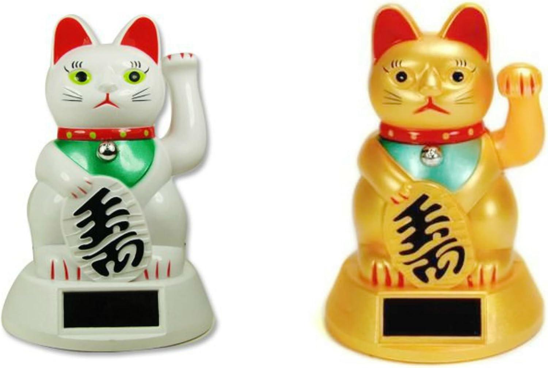 "Solar Maneki Meko Waving Beckoning Cat 3/"" Gold or White Lucky Cat Japanese"