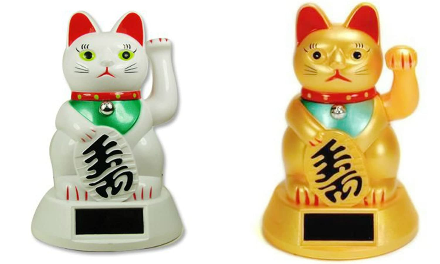 Solar Powered Lucky Beckoning Waving Cat Maneki Neko Bundle Set - A Pair of Yellow + White Colored Lucky Waving Cat by M.V. Trading Crafters