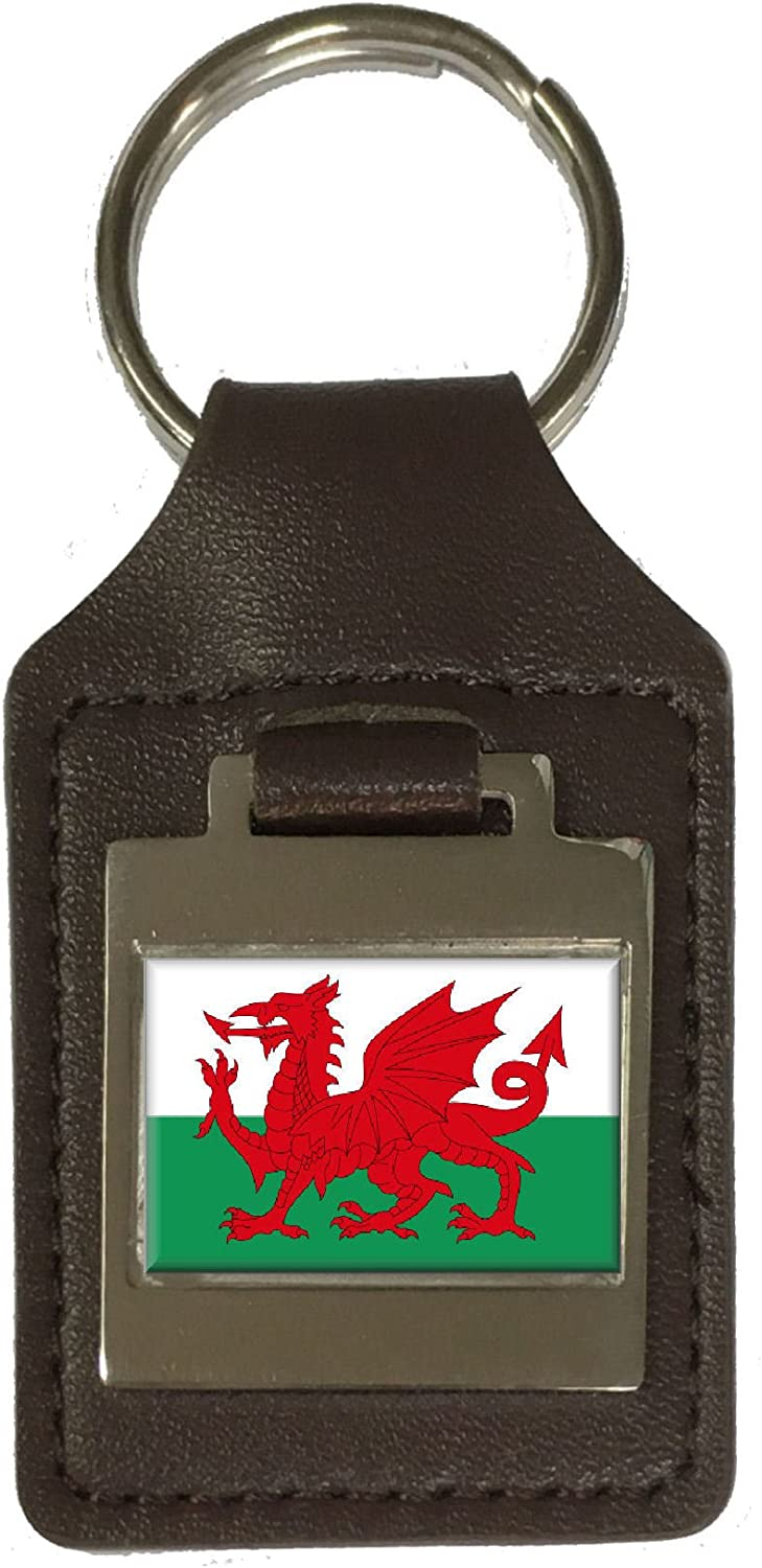 Leather Keyring Engraved WalesThe Red Dragon Flag