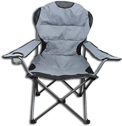 Pliante En Gris Camping Noir Chaise Kg Jusqu'à 150 gYy7bf6