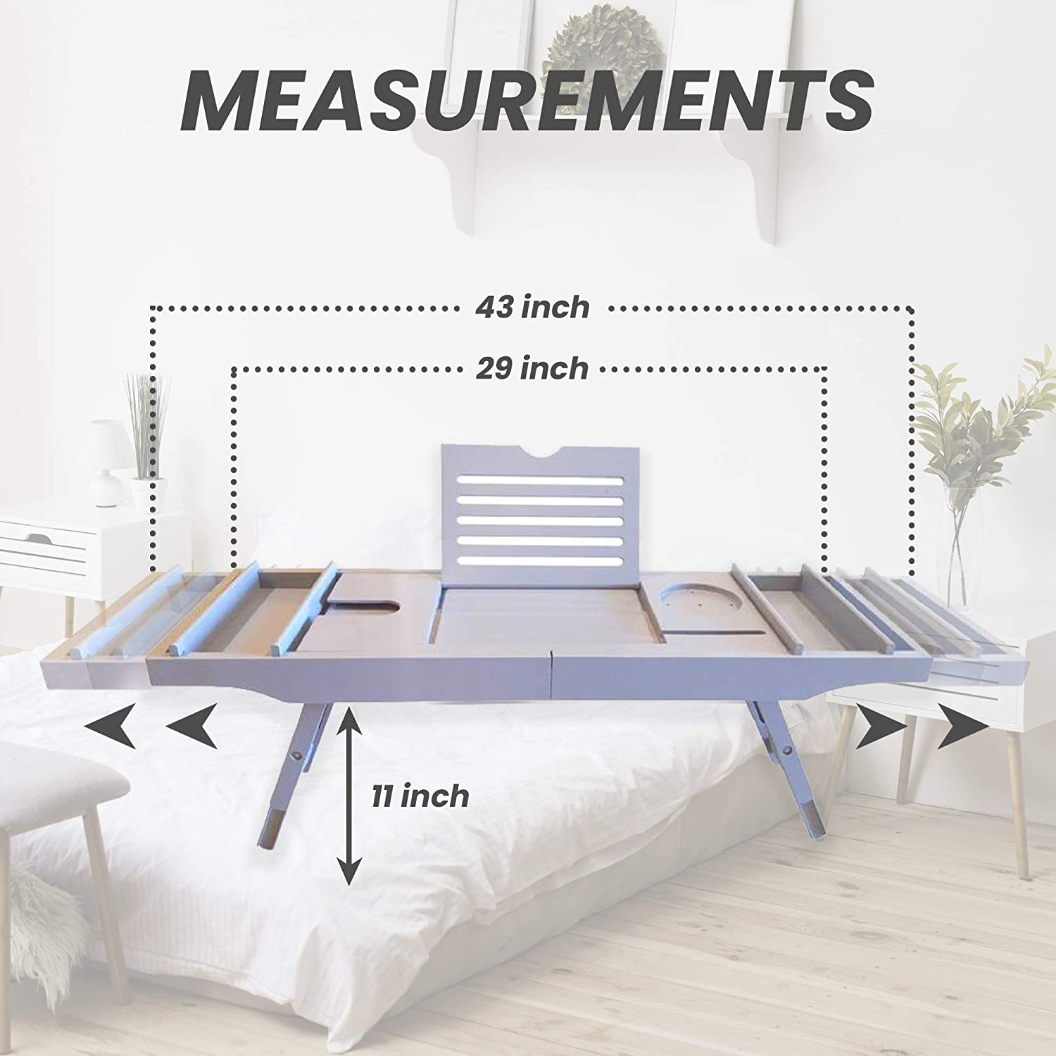 Luxury Bamboo Bathtub Caddy and Bed Tray with Foldable Legs. This Premium Expandable Bath Tray Fits Most Baths and Includes 2 Removable Bathtub Accessories Trays: Kitchen & Dining